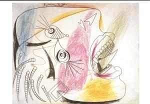 Pablo Picasso (1881-1973) -Studie huilende kop- Postkaart