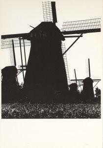 Aart Klein (1909-2001) -Watermolens, Kinderdijk, Nederland- Postkaart
