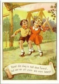 Jacob Jansma (1893-1976) -Uit: Naar de speeltuin- Postkaart