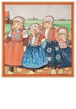 Rie Cramer (1887-1977) -vier kinderen in Oud-Hollands klederdracht- Postkaart