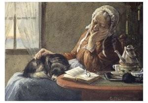 Cornelis Jetses (1873-1955) -Uit: Nog bij moeder- Postkaart