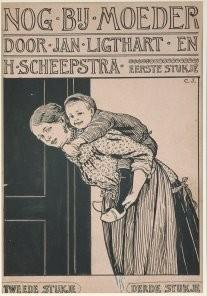 Cornelis Jetses (1873-1955) -Nog bij moeder thuis- Postkaart