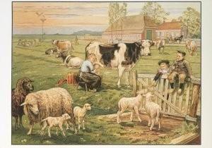 Cornelis Jetses (1873-1955) -Het volle leven: 'In de weide'- Postkaart
