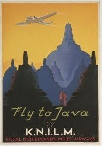 Jan Lavies (1902-2005) -Vliegtuig boven Borobudur, 1938- Postkaart