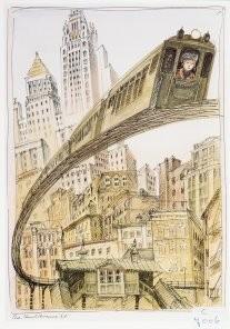 Edward Sorel (1929) -The 3rd Avenue Elevated- Postkaart