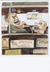 Edward Sorel (1929) -E.Sorel/Cold War Taxi Driver- Postkaart