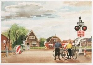 Charles Burki (1909-1994) -C.Burki/Overweg met halve bome- Postkaart