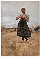 German Grobe (1857-1938) -G. Grobe/Breiend meisj/Katwijk- Postkaart