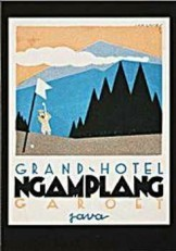 Jan Lavies (1902-2005) -Kofferetiket hotel vereniging Java 1928- Postkaart