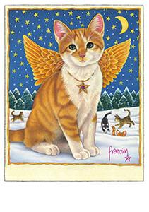 Francien van Westering (1951) -Binkie als kerstengel- Postkaart