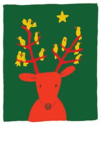 Muriel de Crayencour -Christmas bird- Postkaart