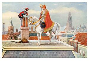 -Sint en Piet op het dak, ca. 1930- Postkaart