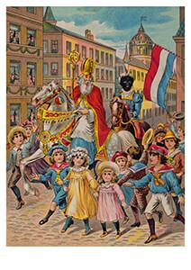 -Intocht Sinterklaas, 19e eeuw- Postkaart