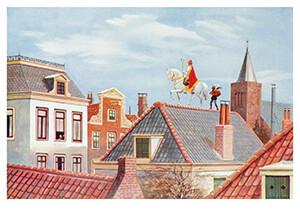 J.C. Kesler -Sint en Piet op het dak, ca. 1930- Postkaart