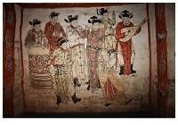 Anoniem -Muurschildering van musicerend gezelschap (1093 na Chr.)- Postkaart