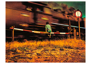 -Saudek/(Boy, train)- Postkaart