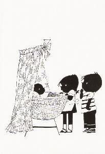 Fiep Westendorp (1916-2004) -Jip en Janneke bij wieg- Postkaart