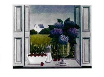Laetitia de Haas (1948) -Hortensia in venster- Poster