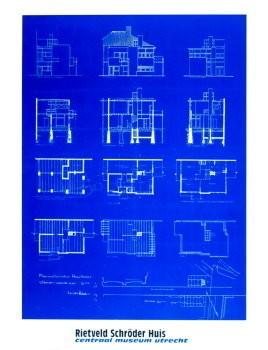 Gerrit Th. Rietveld (1888-1964-Blauwdruk- Poster