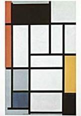 Mondriaan (1872-1944)Mondrian -Compositie met rood, geel, grijs en blauw- Dubbele Kaart