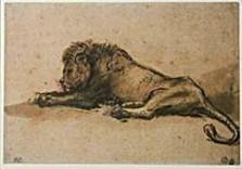 Rembrandt Van Rijn (1606/7-'69-Rembrandt/Liggende leeuw/BvB- Dubbele Kaart
