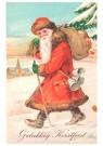 Anonymus  -  Kerstman loopt door de sneeuw - Postkaart -  1C0265-1