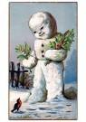 Anonymus  -  Sneeuwpop met kersttakken - Postkaart -  1C0490-1