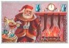 A.N.B.  -  Kerstman met cadeaus bij de open haard - Postkaart -  1C0605-1