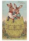 Anonymus  -  Twee paashazen in een ei - Postkaart -  1C0782-1