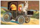Anonymus  -  Paashaas rijdt met kuikentjes in een auto - Postkaart -  1C0892-1