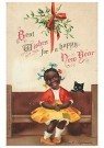 Anonymus  -  Meisje en een zwarte kat (best wishes for a happy new year) - Postkaart -  1C1138-1