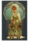 Anonymus  -  Sinterklaas deelt cadeaus uit aan twee meisjes - Postkaart -  1C1805-1