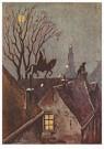 Anonymus  -  Sinterklaas rijdt op het dak met zijn paard - Postkaart -  1C1812-1