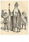 Anonymus  -  Sinterklaas met twee kinderen naast hem die cadeaus vasthoud - Postkaart -  1C1825-1