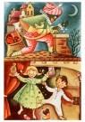 Anonymus  -  Zwarte piet gooit suikergoed door de schoorsteen - Postkaart -  1C1827-1