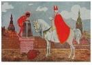 A.N.B.  -  Sinterklaas met zwarte piet op het dak - Postkaart -  1C1864-1