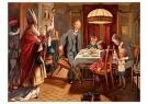 Anonymus  -  Sinterklaas en zwarte piet komen binnen bij een gezin - Postkaart -  1C1867-1
