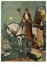 Anonymus  -  Sinterklaas op het dak met zwarte piet en twee katjes - Postkaart -  1C1886-1