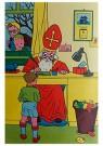 Anonymus  -  Sinterklaas schrijft iets op voor een jongen - Postkaart -  1C1888-1