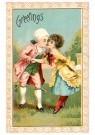 A.N.B.  -  Valentine greetings (Een jong stel dat Valentijnsdag viert, - Postkaart -  1C1936-1