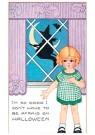 Anonymus  -  Meisje staat voor een raam met daarachter een heks op een be - Postkaart -  1C2013-1