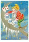 Anonymus  -  Kerstman op de maan - Postkaart -  1C2129-1