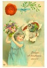 Anonymus  -  Katje en een meisje (gelukkig nieuwjaar) - Postkaart -  1C2202-1