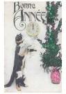 Anonymus  -  Kat bij een plant (gelukkig nieuwjaar) - Postkaart -  1C2204-1