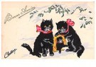 A.N.B.  -  Drie katjes in de sneeuw (gelukkig nieuwjaar) - Postkaart -  1C2205-1