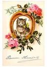 Anonymus  -  Katje in een hoefijzer (gelukkig nieuwjaar) - Postkaart -  1C2206-1
