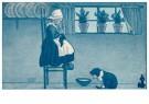 Anonymus  -  Meisje en een katje bij een schoteltje melk (oud hollands) - Postkaart -  1C2242-1