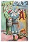Anonymus  -  Kerstman vult sokken met cadeaus bij de openhaard - Postkaart -  1C2297-1