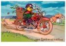Anonymus  -  Kuiken rijdt op een motor met paaseieren - Postkaart -  1C2441-1