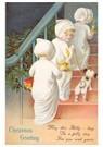 Anonymus  -  Kinderen lopen met kaarsen de versierde trap op - Postkaart -  A100290-1